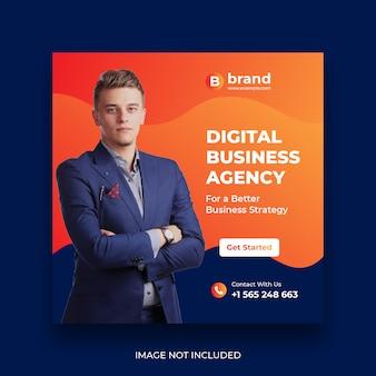 Modelo de banner de mídia social de marketing de negócios digitais
