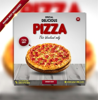 Modelo de banner de mídia social de menu de pizza deliciosa de luxo especial