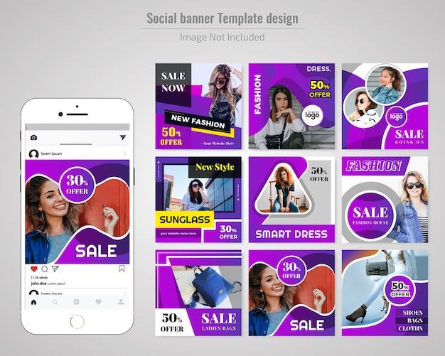 Modelo de banner de mídia social de moda