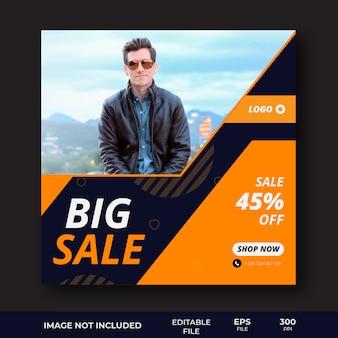 Modelo de banner de mídia social de oferta de grande venda