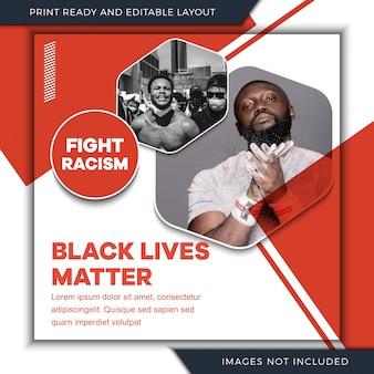 Modelo de banner de mídia social de racismo
