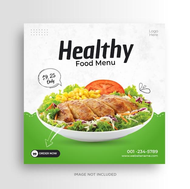Modelo de banner de mídia social de restaurante de menu de comida saudável
