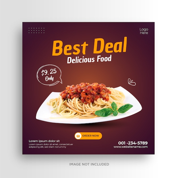 Modelo de banner de mídia social de restaurante de menu de comida