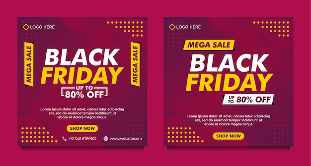 Modelo de banner de mídia social de venda black friday com estilo gradiente roxo