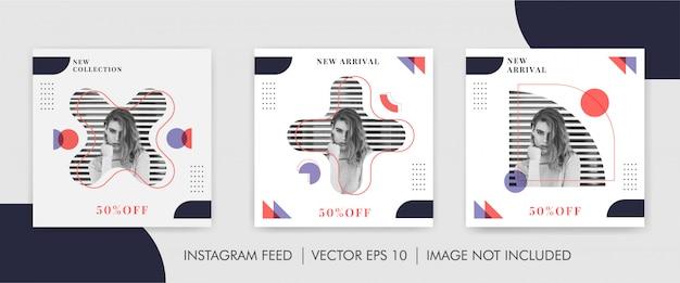 Modelo de banner de mídia social do pacote de moda geométrica