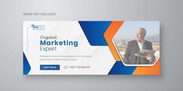 Modelo de banner de mídia social empresarial com design de capa do facebook