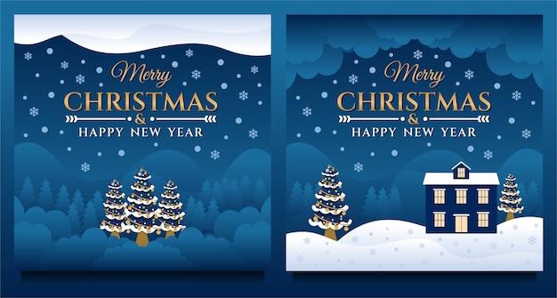 Modelo de banner de mídia social feliz natal e feliz ano novo com cenário natural à noite