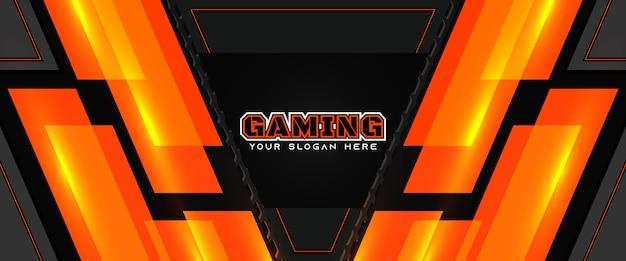 Modelo de banner de mídia social futurista de cabeçalho de jogo laranja e preto