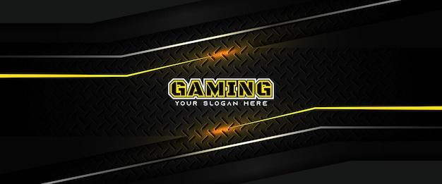 Modelo de banner de mídia social futurista em amarelo e preto para cabeçalho de jogo