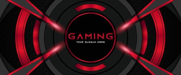 Modelo de banner de mídia social futurista em vermelho e preto para cabeçalho de jogo