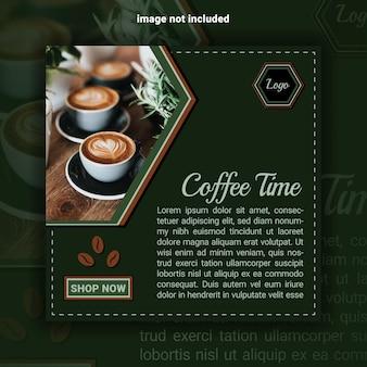 Modelo de banner de mídia social na hora do café