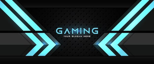 Modelo de banner de mídia social para cabeçalho de jogo futurista em azul e preto