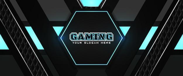 Modelo de banner de mídia social para cabeçalho de jogo futurista em azul e preto Vetor Premium