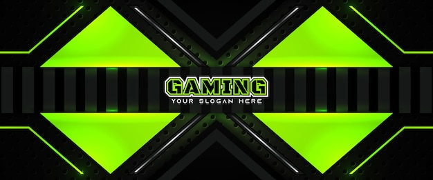 Modelo de banner de mídia social para cabeçalho de jogo futurista em verde e preto
