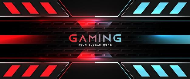 Modelo de banner de mídia social para cabeçalho de jogo futurista em vermelho claro e azul