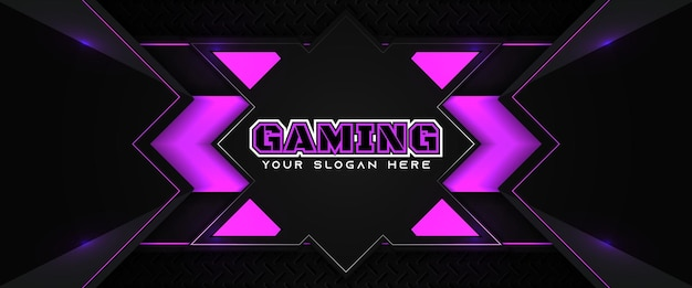 Modelo de banner de mídia social para cabeçalho futurista de jogos em roxo e preto