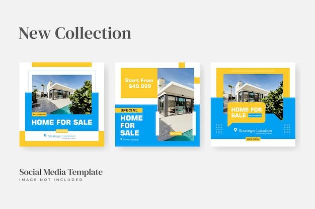Modelo de banner de mídia social para casa quadrada à venda