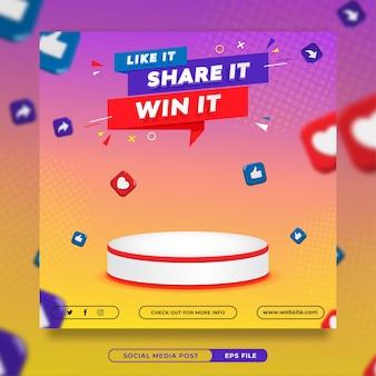 Modelo de banner de mídia social para concurso de convite para prêmio