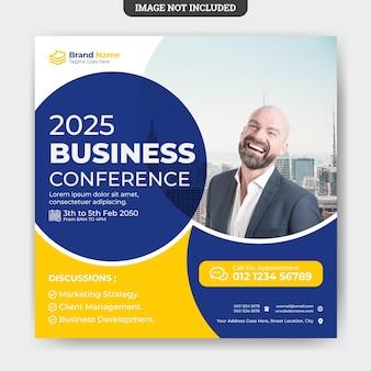Modelo de banner de mídia social para conferências de negócios