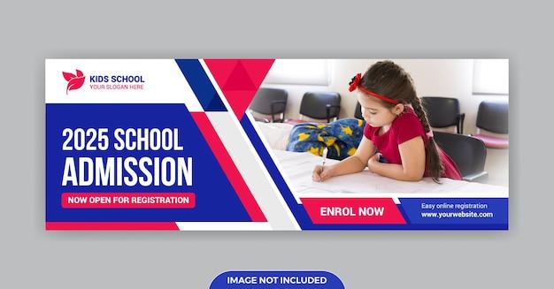 Modelo de banner de mídia social para foto de capa do facebook para admissão na escola
