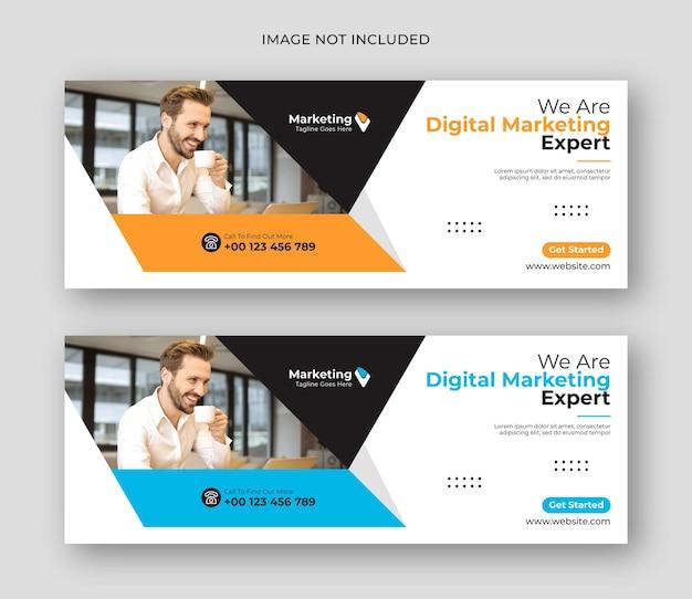 Modelo de banner de mídia social para negócios de marketing digital facebook cover