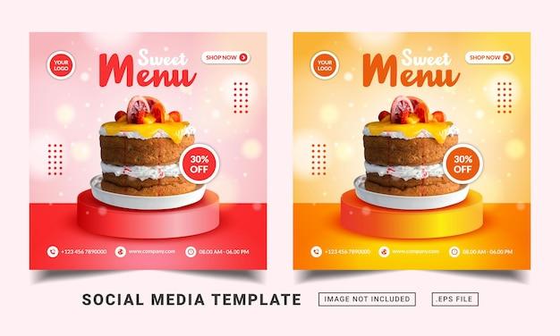 Modelo de banner de mídia social para promoção de menu de bolo doce