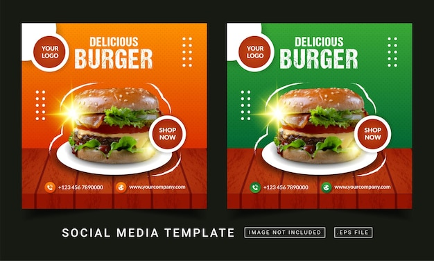 Modelo de banner de mídia social para promoção de menu de hambúrguer delicioso