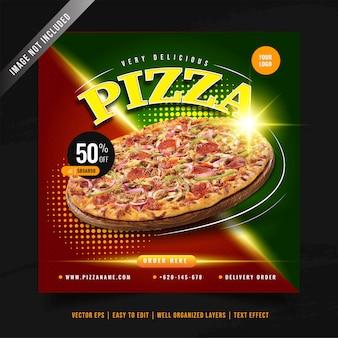Modelo de banner de mídia social para promoção de menu de pizza elegante