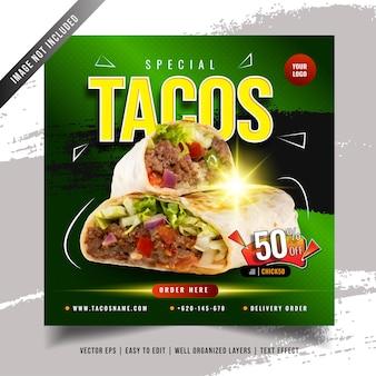 Modelo de banner de mídia social para promoção de menu de tacos mexicanos