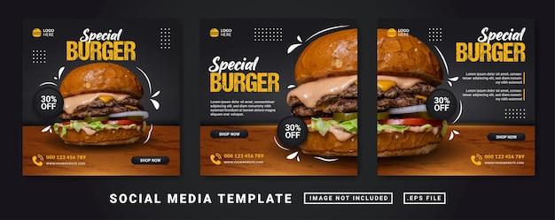 Modelo de banner de mídia social para promoção de menu especial de hambúrguer