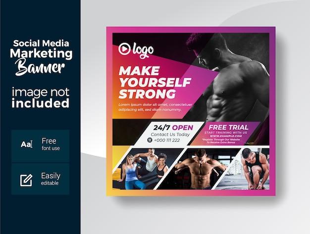Modelo de banner de mídia social para treinamento de ginástica e condicionamento físico