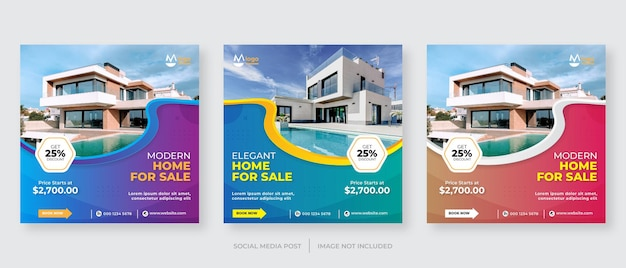 Modelo de banner de mídia social para venda de imóveis de casas modernas