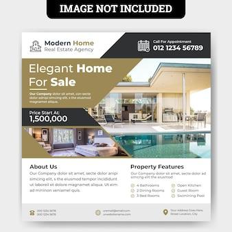 Modelo de banner de mídia social para venda em casa perfeita
