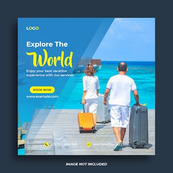 Modelo de banner de mídia social para viagens