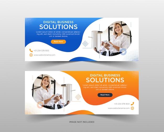 Modelo de banner de mídia soical de soluções de negócios digitais