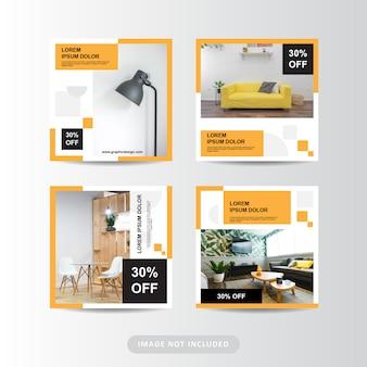 Modelo de banner de mobiliário moderno minimalista