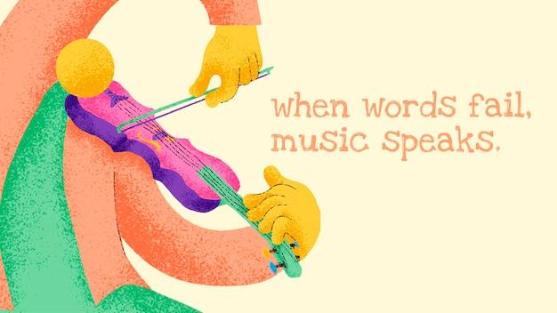 Modelo de banner de músico com citações musicais inspiradoras