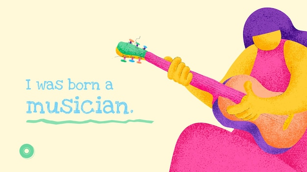 Modelo de banner de músico, design plano de vetor com citações musicais inspiradoras