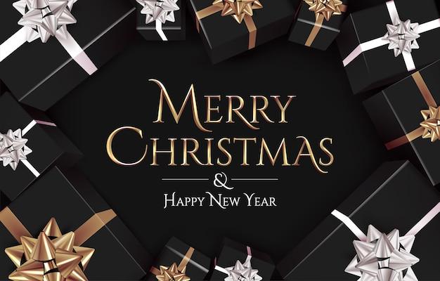 Modelo de banner de natal com texto dourado de feliz natal em fundo escuro