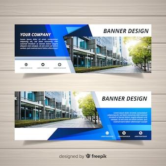 Modelo de banner de negócio abstrato com imagem