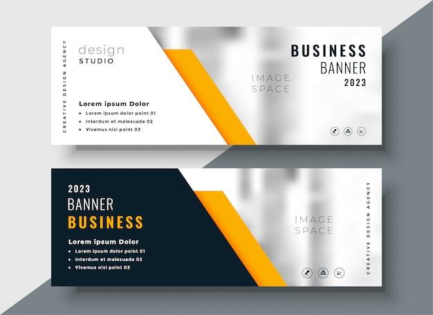 Modelo de banner de negócio profissional amarelo elegante