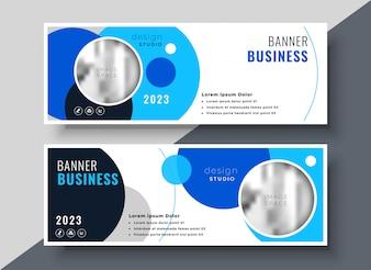 Modelo de banner de negócios criativo círculo azul