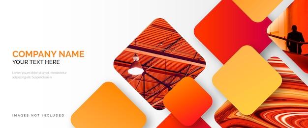 Modelo de banner de negócios elegante com formas vermelhas