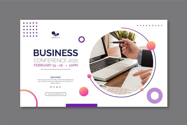 Modelo de banner de negócios em geral com foto