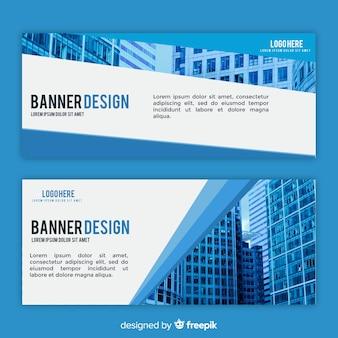 Modelo de banner de negócios modernos com imagem