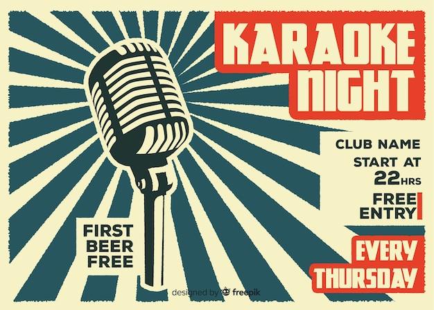 Modelo de banner de noite de karaoke plana