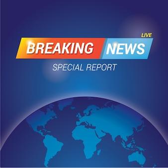 Modelo de banner de notícias de última hora com mapa do globo terrestre para fora da tela da televisão