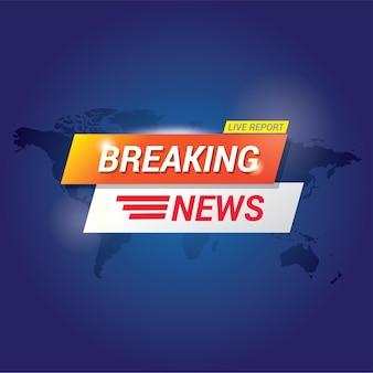 Modelo de banner de notícias de última hora para tela de televisão