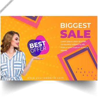 Modelo de banner de oferta de desconto de venda moderna