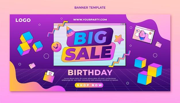Modelo de banner de oferta de desconto em grande promoção de aniversário